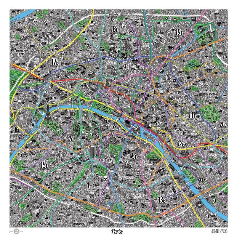 Hand Drawn Map Of Paris Jenni Sparks - Paris mapa