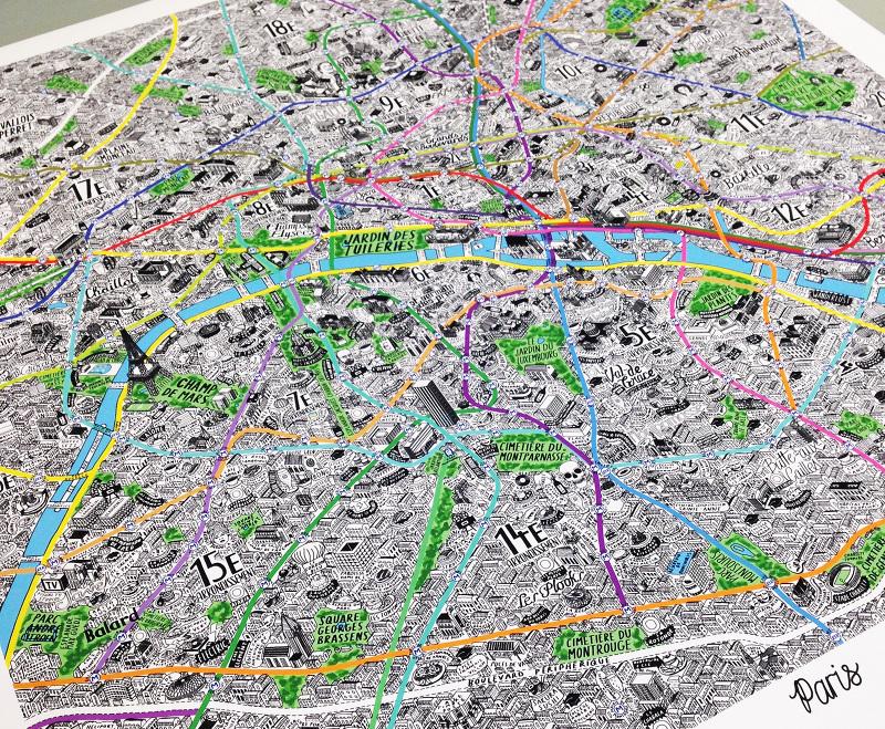 hand drawn map of paris jenni sparks